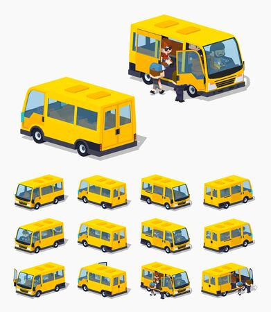 minivan: Passenger minivan. 3D lowpoly isometric vector illustration. The set of objects isolated against the white background and shown from different sides