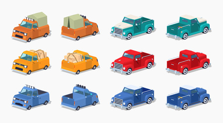 pickups: Collection of the pickups. 3D lowpoly isometric vector illustration. The set of objects isolated against the white background and shown from two sides
