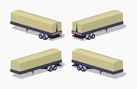 tarpaulin: Trailer with the tarpaulin tent. 3D lowpoly isometric vector illustration. The set of objects isolated against the white background and shown from different sides Illustration