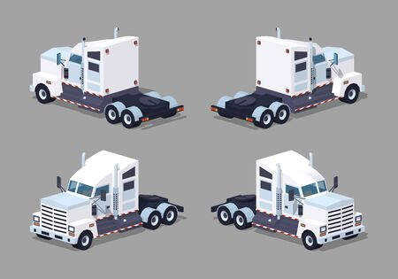 low tire: Heavy american white truck. 3D lowpoly isometric vector illustration. The set of objects isolated against the grey background and shown from different sides
