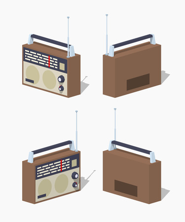 shortwave: Retro radio set. 3D lowpoly isometric vector illustration. The set of objects isolated against the white background and shown from different sides