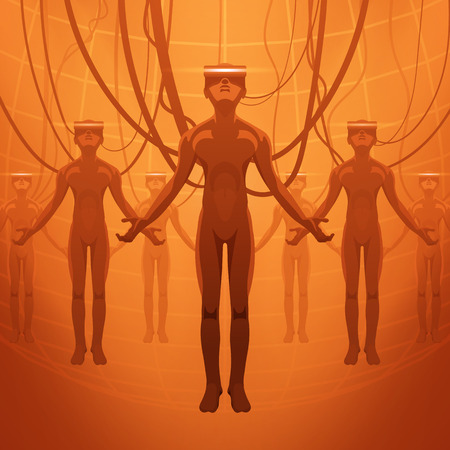 dependence: Futuristic male figures in the VR headsets. Vector concept illustration