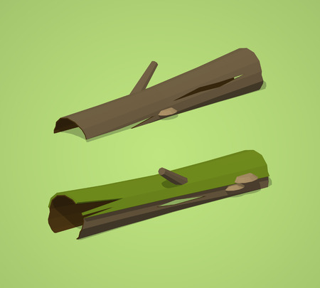 rotten: Rotten logs against the green background. 3D lowpoly isometric vector illustration Illustration