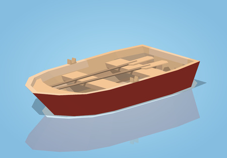 punt: Red punt boat against the blue background. 3D lowpoly isometric vector illustration