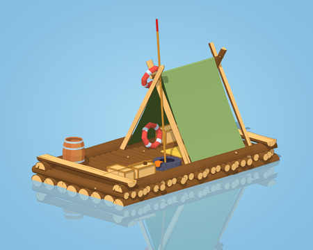 Wooden raft against the blue background. 3D lowpoly isometric vector illustration