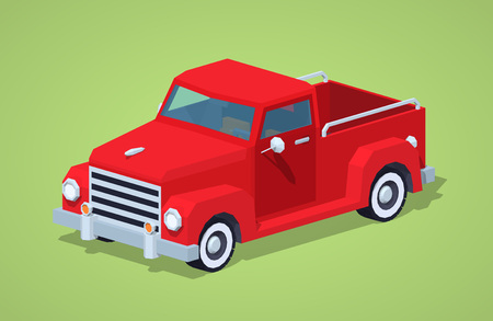 hauling: Red retro pickup against the green background. 3D lowpoly isometric vector illustration