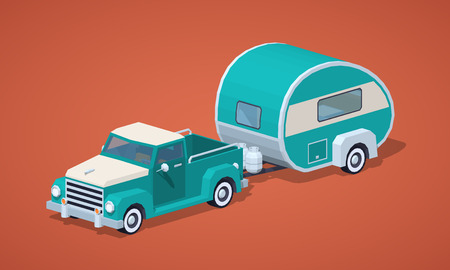 motor home: Turquoise retro pickup with motor home against the red background. 3D lowpoly isometric vector illustration Illustration