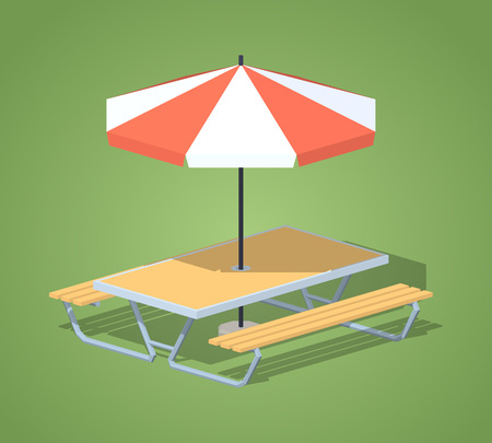 outdoor dining: Cafe table with sun umbrella against the green background. 3D lowpoly isometric vector illustration