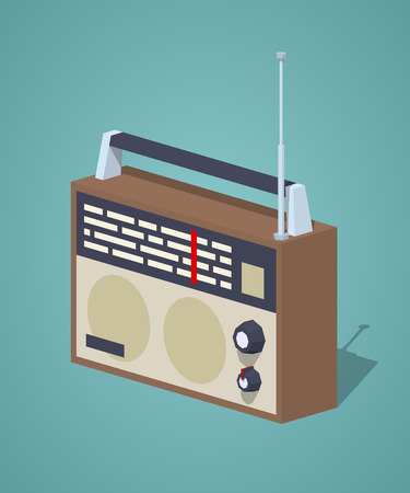 Retro radio set against the dark-blue background. 3D lowpoly isometric vector illustration Illustration