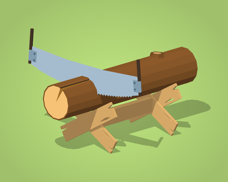 timber cutting: Work bench with the log and handsaw against the green background. 3D lowpoly isometric vector illustration