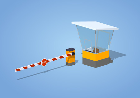 Barrier and toll booth against the blue background. 3D lowpoly isometric vector illustration