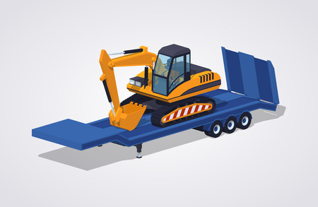 heavy: Yellow excavator on the blue low-bed trailer against the white background. 3D lowpoly isometric vector illustration