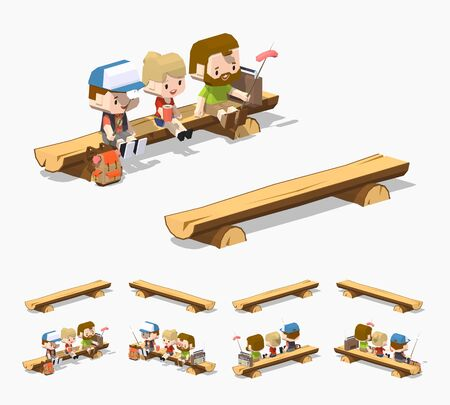 wooden bench: Rough wooden bench. 3D lowpoly isometric vector illustration. The set of objects isolated against the white background and shown from different sides