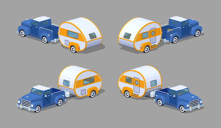 motor home: Blue retro pickup with orange-white motor home. 3D lowpoly isometric vector illustration. The set of objects isolated against the grey background and shown from different sides Illustration