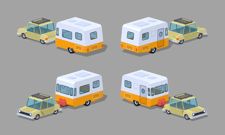 motor home: Beige sedan with orange-white motor home. 3D lowpoly isometric vector illustration. The set of objects isolated against the grey background and shown from different sides Illustration
