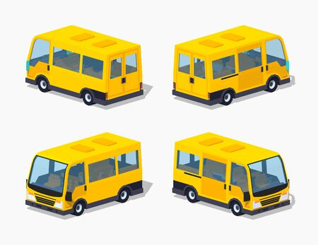 minivan: Yellow passenger minivan. 3D lowpoly isometric vector illustration. The set of objects isolated against the white background and shown from different sides Illustration