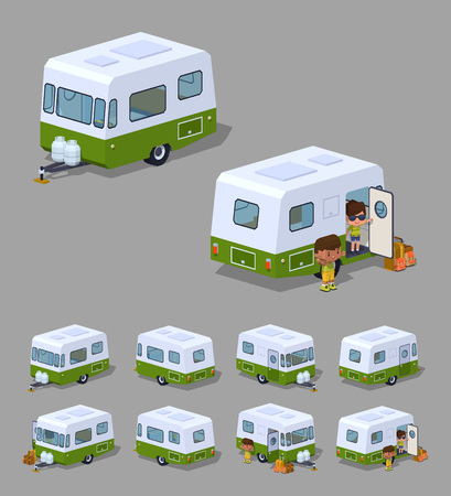 motor: Retro motor home. 3D lowpoly isometric vector illustration. The set of objects isolated against the grey background and shown from different sides