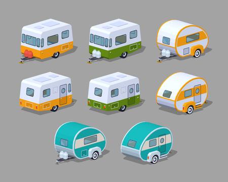 Raccolta dei camper. 3D lowpoly isometrico illustrazione vettoriale. L'insieme di oggetti isolati sullo sfondo grigio e mostrato da due lati Vettoriali