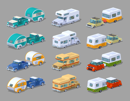 Collection of the motorhomes. 3D lowpoly isometric vector illustration. The set of objects isolated against the grey background and shown from two sides