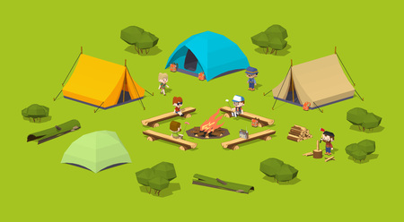 campsite: Campsite in the woods. 3D lowpoly isometric vector concept illustration