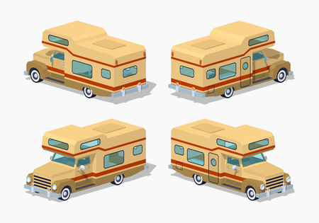 motor home: Brown motor home. 3D lowpoly isometric vector illustration. The set of objects isolated against the white background and shown from different sides Illustration