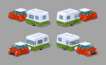 motor home: Red hatchback with green-white motor home. 3D lowpoly isometric vector illustration. The set of objects isolated against the grey background and shown from different sides