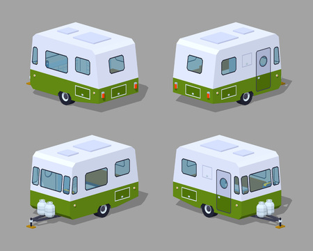 motor home: Retro motor home. 3D lowpoly isometric vector illustration. The set of objects isolated against the grey background and shown from different sides