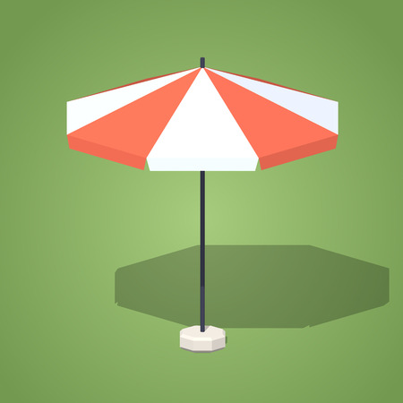 sun umbrella: Sun umbrella against the green background. 3D lowpoly isometric vector illustration Illustration