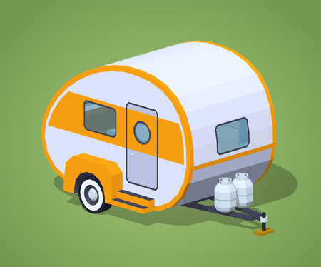 motor home: Retro motor home against the green background. 3D lowpoly isometric vector illustration
