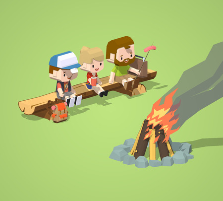 woodpile: Low poly rough wooden bench and the campfire. 3D lowpoly isometric vector concept illustration Illustration
