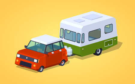 motor home: Red hatchback with green-white motor home against the yellow background. 3D lowpoly isometric vector illustration