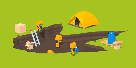 hazmat: Low poly monster footprint and the team of scientists. 3D lowpoly isometric vector concept illustration