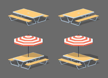desk toy: Cafe table with sun umbrella. 3D lowpoly isometric vector illustration. The set of objects isolated against the grey background and shown from two sides Illustration