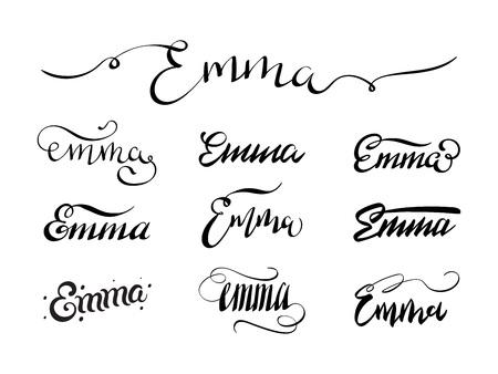 Häufig Personal Name Emma. Vector Handwritten Calligraphy Tattoo Design  RK67