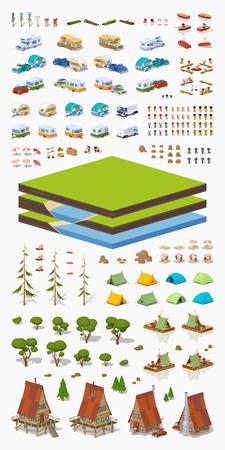 Tourism construction set. Build your own design Illustration