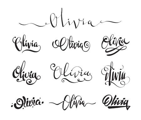 olivia: Personal name Olivia. Vector handwritten calligraphy tattoo design set Illustration