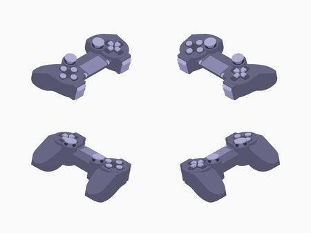 Set of the isometric black gamepads. The objects are isolated against the white background and shown from different sides Illustration