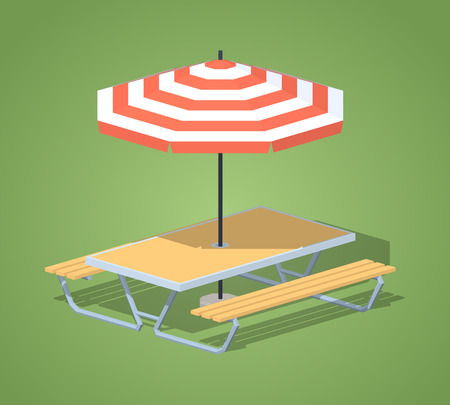 sun umbrella: Cafe table with sun umbrella against the green background. 3D lowpoly isometric vector illustration