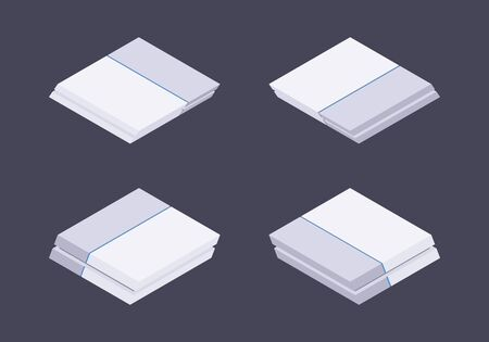 blueray: Set of the isometric white nextgen gaming consoles. The objects are isolated against the dark-violet background and shown from different sides
