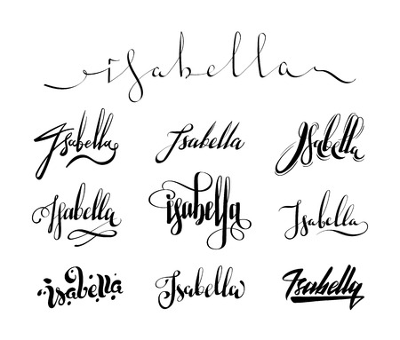 isabella: Personal name Isabella. Vector handwritten calligraphy set. Handmade lettering collection