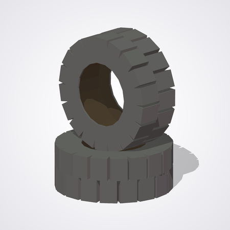 low tire: Old rubber tires against the white background. 3D lowpoly isometric vector illustration