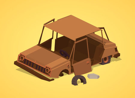 junkyard: Old rusty car against the yellow background. 3D lowpoly isometric vector illustration