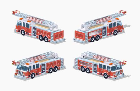 Camion de pompier. Illustration vectorielle isométrique lowpoly 3D. L'ensemble des objets isolés sur le fond blanc et représentés de différents côtés Banque d'images - 57387566