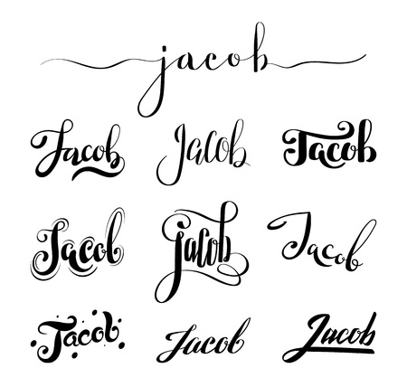 jacob: Personal name Jacob. Vector handwritten calligraphy set. Handmade lettering collection Illustration