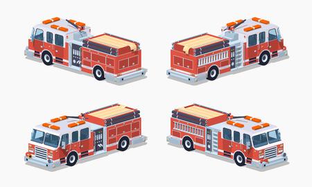 Camión de bomberos. ilustración vectorial isométrica en 3D lowpoly. El conjunto de objetos aislados sobre el fondo blanco y muestra desde diferentes lados