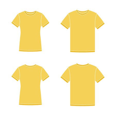 short sleeve: Mens and womens yellow short sleeve t-shirts templates. Front and back views. Vector flat illustrations