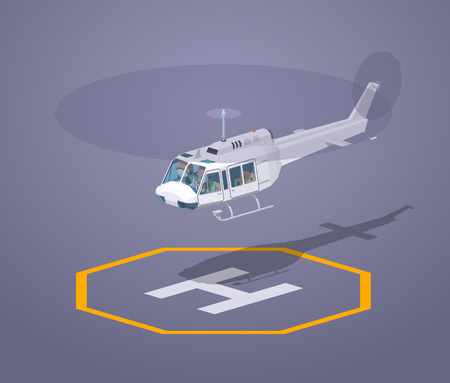 pad: Heli pad against the purple background. 3D lowpoly isometric vector illustration