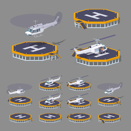 pad: Heli pad. 3D lowpoly isometric vector illustration. The set of objects isolated against the grey background and shown from different sides