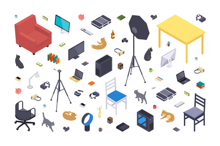 Isometric flat office items against the white background. 3D isometric vector concept illustration Illustration