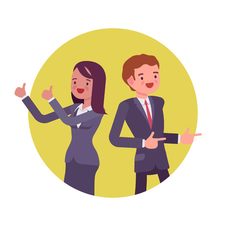 Office workers standing and smiling. Man and women in a formal wear. Cartoon vector flat-style business concept illustration Illusztráció